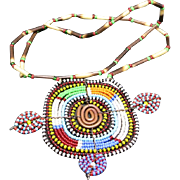 Beaded Necklace Pendant Copper accents Turtle