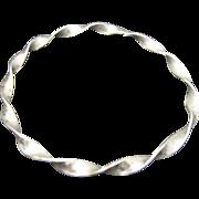 Sterling silver bangle bracelet Twisted Flat WIre