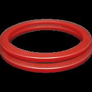 Bakelite Bangle Bracelets Pair Red Spacers Thin