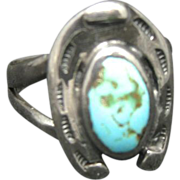 Horse Shoe Ring Sterling Silver Turquoise Hand Made