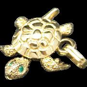 Turtle charm gold tone Metal Rhinestone eyes Monet Wiggles
