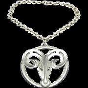 Aries Necklace Huge Pendant Disco Pewter Seventies