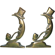 SOLD Man in the Moon Bookends
