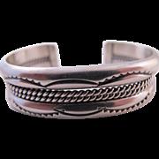 Vintage Sterling Silver Navajo signed TAHE cuff bracelet Native American