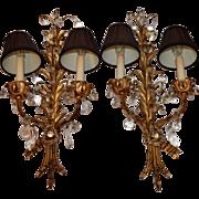 Pair of antique Tole Beaded Sconces