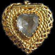 Vintage 14k Gold & Aquamarine Heart Locket Charm