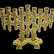 Vintage Israeli Brass Hen Holon Candelabra, Menorah