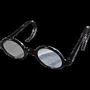 Vintage Jet Black Lucite Round Shaped Classic Retro Harry Potter Style Eye Glass Frames