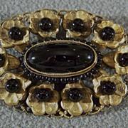 Vintage Yellow Gold Tone filigree black onyx stone fancy bold pin brooch