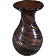 SALE Vintage Italian Venetian  Murano Art Glass Gold Copper Flecked Miniature Vase        W