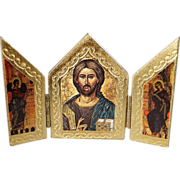 Vintage Italian Florentine Yellow Gold Gilt Gesso Wooden Icon Multi Religious Figural 3 Section Hinged Pictorial