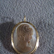 SALE Vintage 10K Gold Mother of Pearl Big Cameo Pin Pendant