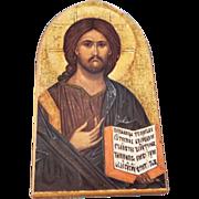 Vintage Italian Florentine Gold Gilt On Wood Religious Multi Figural 's Icon Religious Fancy Table Top Religious Piece