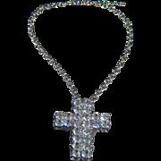 SALE Sterling Silver Tone Multi Round Rhinestone Extra Large Cross  Pin Brooch Pendant Charm .