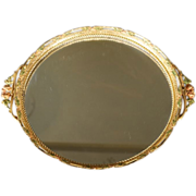 Vintage Detailed Ornate Round Mirrored Vanity Tray Fancy Raised Relief Scrolled Filigree Floral Painted Designs