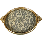 Vintage Detailed Ornate Round Detailed Lace Doily Glass Encased Vanity Tray Fancy Raised Relief Scrolled Filigree Floral Designs