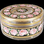 Vintage Fancy Detailed Multi Colored Floral Gold Gilt Enameled Glass Vanity Dresser Lidded Container