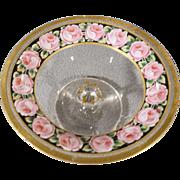 Vintage Fancy Detailed Multi Colored Floral Gold Gilt Enameled Glass Vanity Dresser Footed Pedestal Bowl