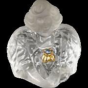 SALE Vintage Designer Fenton Glass Fancy Detailed Angel Figurine Aqua Marine Colored Glass Rhi