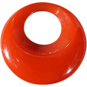 SALE Vintage Cherry Red  Bakelite Fancy Domed Round Pendant Charm Enhancer Slide   # 15