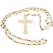 Vintage Multi Round Fancy Faceted Ivory Cream Colored Lucite Bead Raised Relief Religious Figural Cross Rosary    #36