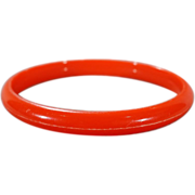 SALE Vintage Cherry Red Bakelite Fancy Domed Bangle Bracelet     #55