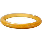 SALE Vintage Butterscotch Bakelite Smooth Domed Curved Bangle Bracelet       #54