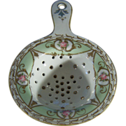 Vintage Nippon Tea  Strainer Fancy Multi Colored Floral Gold leaf Paint Moriage          W