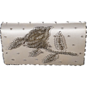 Vintage Hand Made In Hong Kong Cream Satin Clutch Purse Hand Bag Multi Round Micro Glass Beaded Raised Detailed Flower Design