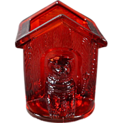 SALE Vintage Ruby Red Depression Glass Fancy Detailed Etched Raised Relief Dog House Tooth Pic