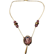 SALE Vintage Brass Large Round Purple Glass Fancy Carved Figural Intaglio Cameo 4 Filigree ...