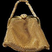 Vintage Designer Signed Whiting & Davis Co. Yellow Gold Tone Mesh Multi Rhinestone Elegant Evening Purse Hand Bag