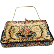 Vintage Designer Signed Label G.H.L. Princess Style West Germany Detailed Fancy Multi Colored Woven Tapestry Petit Point Fabric Hand Bag Purse Clutch