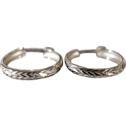 SALE Vintage 14 K White gold Turkish Made Fancy Etched Design Hoop Style Pierced Earrings ...