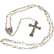 SALE Vintage Sterling Silver Cross Medalion Faux Pearl Fancy Religious Rosary     #405