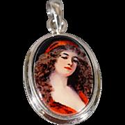 SALE Vintage Sterling Silver Oval Painted Porcelain Detailed Female Figural Pendant Charm