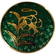 Vintage Yellow Gold Tone Fancy  Emerald Green Enameled Asian Style Button