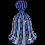 SALE Vintage Italian Venetian Murano Art Glass Shades Blue Ribboned Lattice Swirled Design Ros