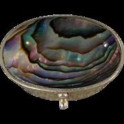 Vintage Sterling Silver Large Oval Abalone Trinket Trinket Pill Box
