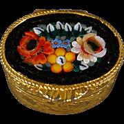 Vintage Yellow Gold tone Italian Micro Mosaic Oval Trinket Trinket Pill Box