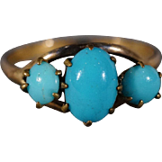 SALE Vintage 10 K Yellow Gold 3 Round Oval Sleeping Beauty Turquoise Fancy Band Ring ...