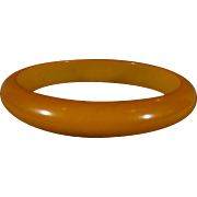 SALE Vintage Butterscotch Domed Wide Curved Bakelite Bangle Bracelet