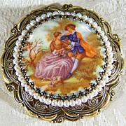 SALE Vintage  Fancy big porcelain Limoges figural pin