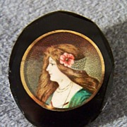 SALE Vintage Lithograph Jet Black Glass Pin Brooch
