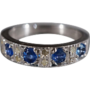 SALE Vintage Sterling Silver 13 Round Diamond Blue SapphireFancy Stacker Eternity Style Weddin