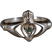 SALE Vintage Sterling Silver Round Emerald Fancy Irish Claddaugh Wedding Ring Band Size 8