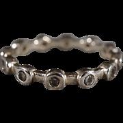SALE Vintage Sterling Silver 12 Round Bezel Set Diamond Stacker Style Eternity Design Wedding