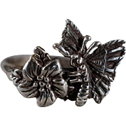 SALE Vintage Sterling Silver Fancy Raised Relief Etched Scrolled Multi Flower Leave Butterfly
