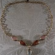 SALE Vintage Yellow Gold Tone lavaliere  bib necklace pink cabochon glass      $40