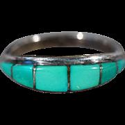 SALE Vintage Sterling Silver Zuni Artist Signed Multi Inlaid Turquoise Stacker Design Wedding
